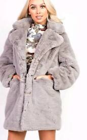 Mel Faux Fur Coat in Grey S/M, M/L