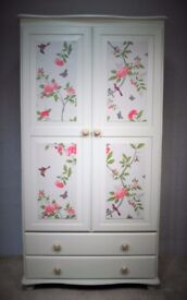 Pine Wardrobe painted in Annie Sloan Old White and waxed
