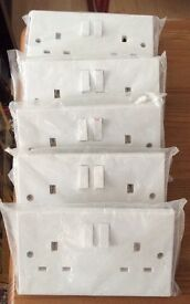 5 Packs of DOUBLE ELECTRICAL SOCKETS - Still In Packaging - £2 Each
