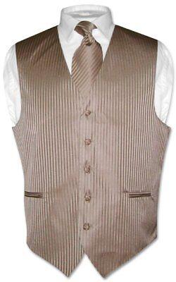 Men's Dress Vest NeckTie MOCHA Lt. BROWN Vertical Striped Design Neck Tie Set (Mens Brown Vest)