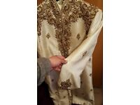 BRAND NEW NEVER WORN MENS GROOMS SHERWANI PAKISTANI INDIAN WITH SHOES AND KURTA