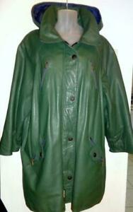 XXXL Womens Plus 3X Real Leather Rain Jacket Car Coat Green 54 Unisex Style Big and Tall Loose Good leather Vtg UNISEX