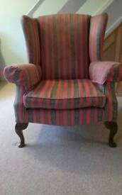 Pair of Parker Knoll winged arm chairs in need of recovering