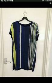 Women's size 12 navy, white and green striped top from Next