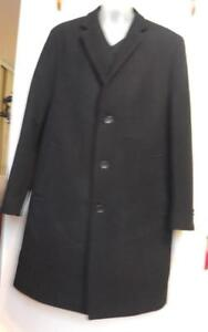 NEW Mens Large $500 STEPHANO COAT 100% WOOL BLACK LONG WINTER FALL JACKET SLIM