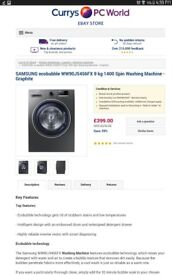 SAMSUNG ecobubble WW90J5456FX 9 kg 1400 Spin Washing Machine - Graphite less than 18 mts old