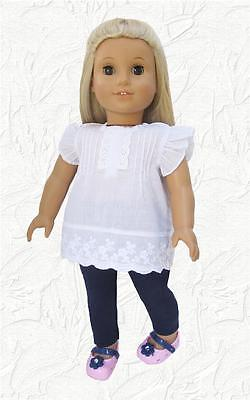 Doll Clothes fit American Girl and 18 inch doll Eyelet Batiste Top and Leggings on Rummage