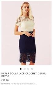 PAPER DOLLS LACE CROCHET DETAIL DRESS BNWT paid £60