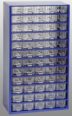 Kleinteilemagazin METALL blau mit 60 Schubladen + 20 Trennstege 551x306x155 mm