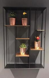 BRAND NEW Art Deco Rectangular Black & Gold Shelving Unit
