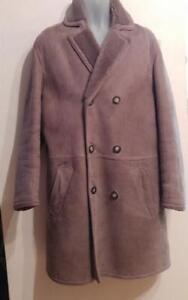 Oakville Mens Napa 100% Sheepskin SHEARLING Coat M L 40 42 Sawyer Thick Warm Canada Brown Elkhorn buttons Jacket Winter