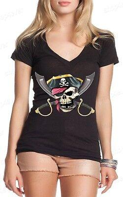 Jolly Roger Scimitar Women's V-Neck T-shirt Pirate Flag Shirts skull flag](Women Pirate Shirt)