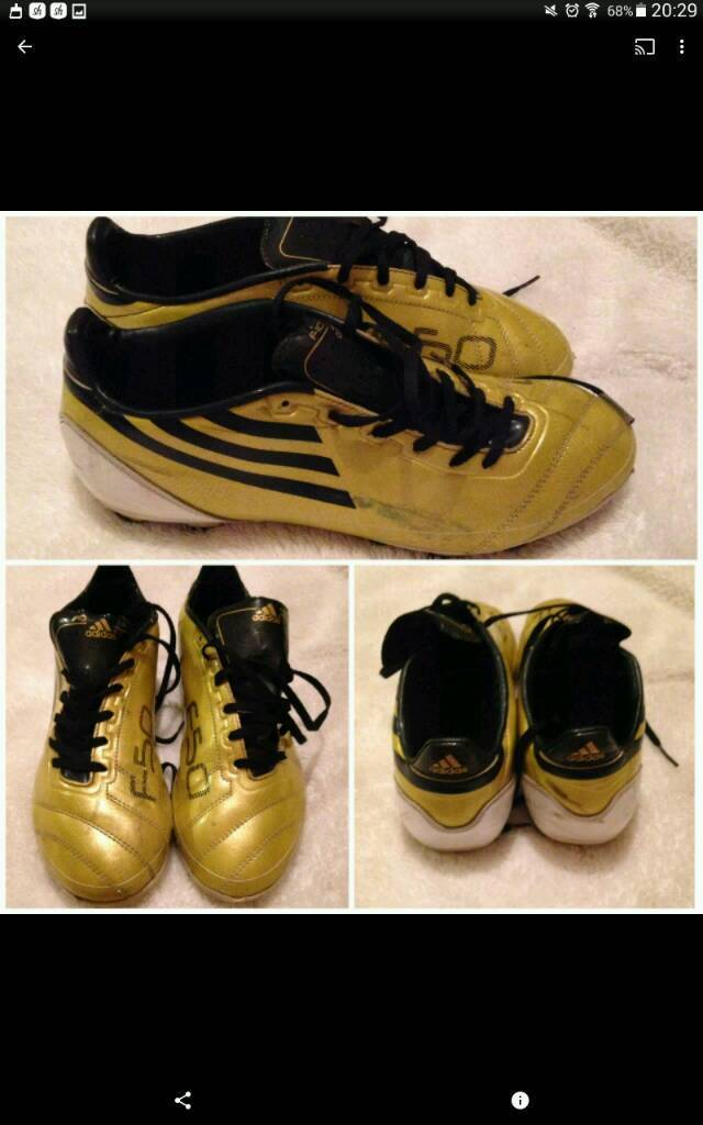 Mens size 7.5 Adidas F50 football boots in gold black  6e11a67cd694