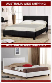 Warehouse Direct Full Size Black/White PU Leather Bed Frame