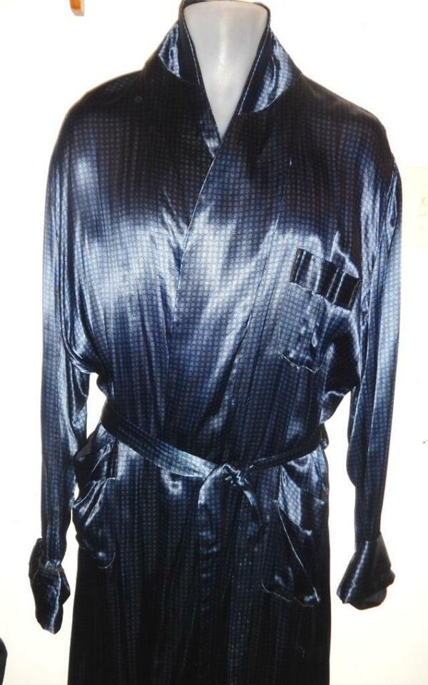 Mens M Vintage Satin Smoking Jacket Bathrobe Dressing Gown 40 ...