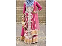 Heavy stone work long dress anarkali in dusty pink asian wedding bridal mehendi bridesmaid outfit