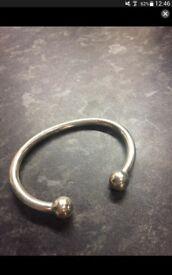 Solid silver mens torque bangle 2half oz