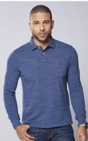 Mens blue Ralph Lauren long sleeve polo