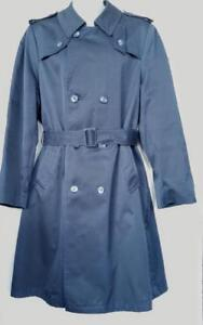 Oakville Original PIERRE CARDIN Designer Spy Trench Coat Mens Medium Navy Blue Retro Long Raincoat M Original Vintage 40