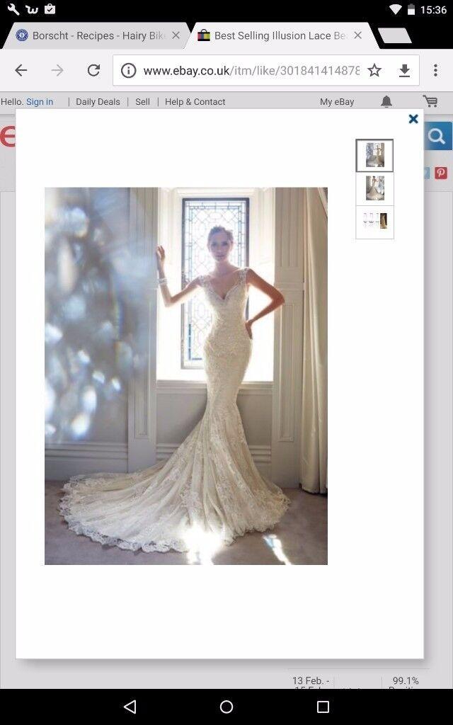 Wedding dress: Mermaid, Organza, Lace, Beaded