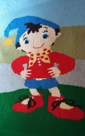 Noddy character handknitted large bed size 83inches x 65 inches blanket