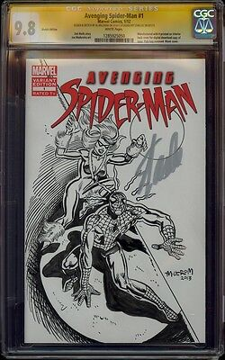 AVENGING SPIDER-MAN 1 CGC 9.8 2X SS SKETCH AL MILGROM COVER RECREATION BLACK CAT