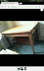 Solid chunky genuine antique pine kitchen table great condition - rare find