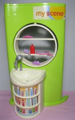 Barbie My Scene Doll Salon/Spa Furniture Sink & Beauty Product Rotating Wall Set