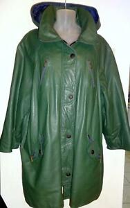 """PLUS XXL // WOMENS 3X LEATHER JACKET Car Coat // GREEN Hood 54"""" UNISEX STYLE // BIG AND TALL"""