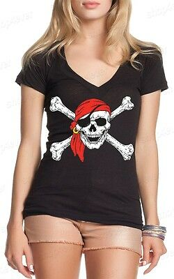 Jolly Roger Skull & Crossbones Women's V-Neck T-shirt Pirate Flag Shirts](Women Pirate Shirt)
