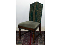 ANTIQUE REAL WOODEN CHAIR high back/velvet/green upcycled vintage/hipster ooak retro/study sturdy