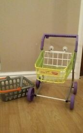 Kid play shopping trolley and basket Elc and casdon