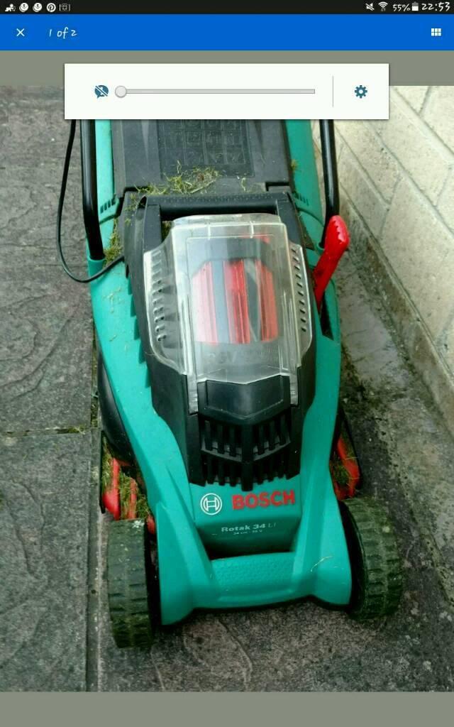 Bosch Rotak 34Li 36v Lithium-Ion Cordless Rotary Lawnmower, needs new battery