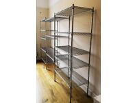 THREE SECTION ADJUSTABLE METAL KITCHEN/STORAGE SHELVES.