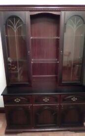 Dark wood dresser glass doors
