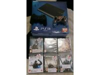 Ps3 500gb super slim with 2 pads 6 games