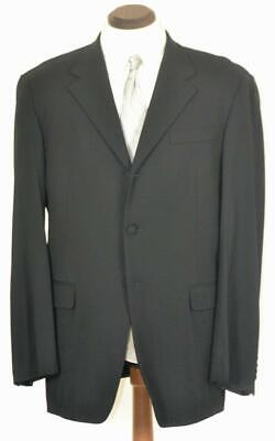 Perfect $1895 PRADA Flat Front Button Fly Black Tuxedo Formal SUIT 42 L R Button Fly Suit