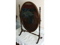 Antique Victorian Vanity Mirror, Dressing Table Swing Mirror Turned supports
