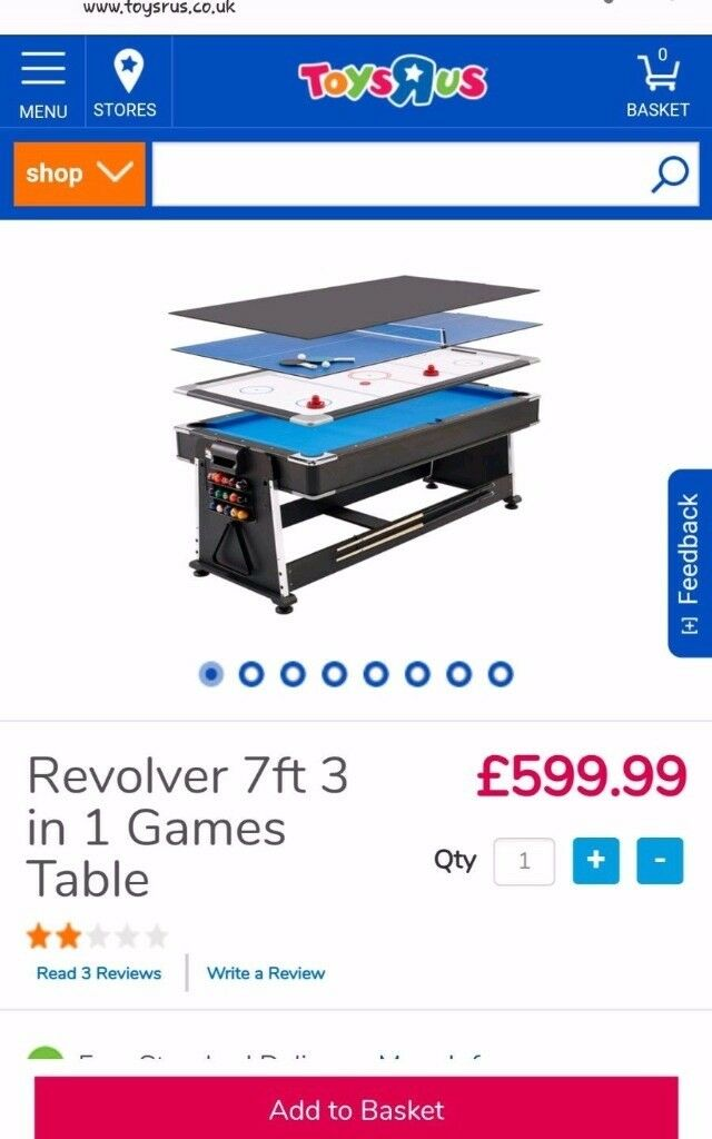3 In 1 Multi Game Table (7FT)