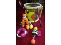 Drum with musical instruments