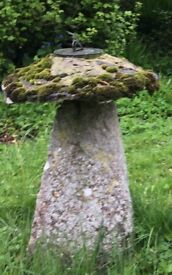 Antique staddle stone with sundial