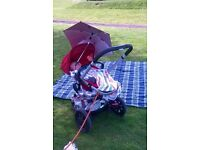Quinny Buzz red pushchair with extras