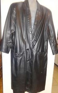 "Vintage TRENCH LONG BLACK LEATHER COAT / UNISEX / XL XXL 48"" GOTH VAMP GENEROUS LOTS OF MATERIAL LOOSE BIG UNISEX STYLE"