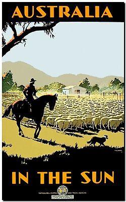 Cool Retro Travel Poster *FRAMED* CANVAS ART Australia Sun sheep (Cool Frames Australia)