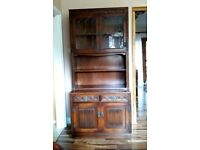 Solid oak dark brown Old Charm bookcase cabinet