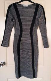 Grey office or evening midi bodycon dress