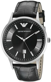 Emporio Armani Men's Classic Black Dial Black Leather Watch AR2411