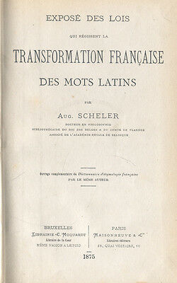 Scheler, Transformation francaise des mots Latins, Etymologie Französisch Latein