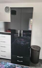 2 door Black gloss wardrobe