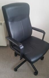 IKEA Malkolm Swivel Adjustable Office Chair in Black Leather - Open to Offers